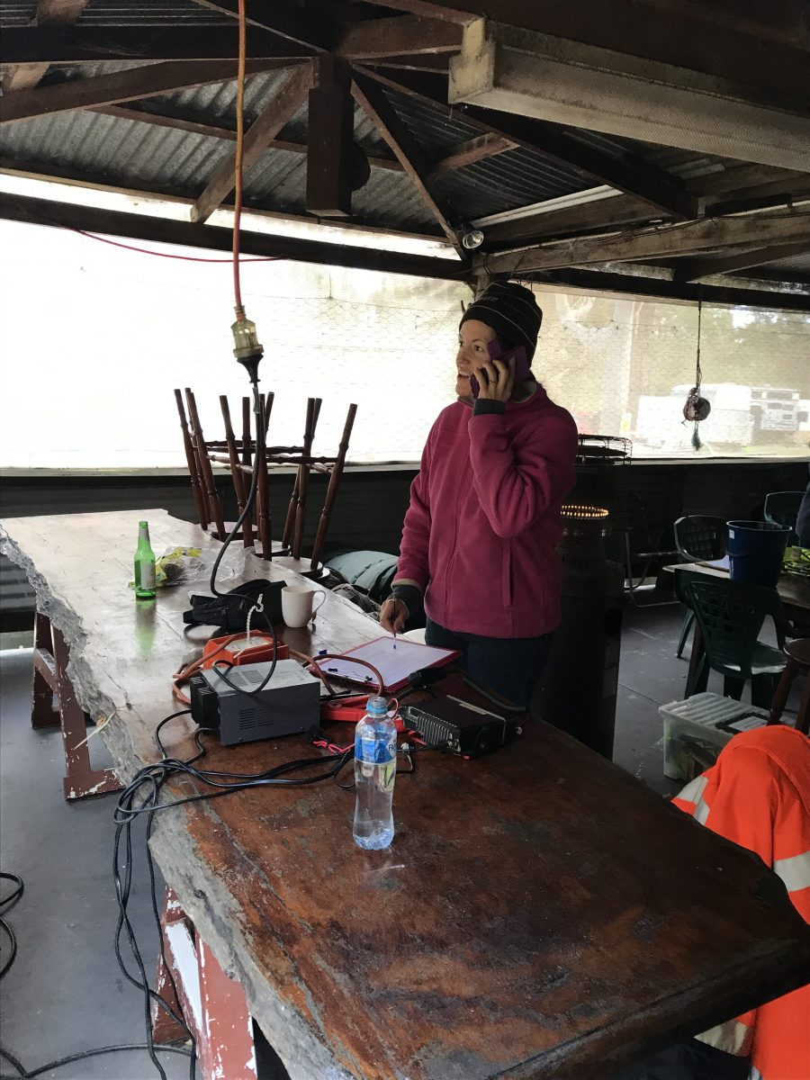 Command center in camp kitchen at Boat Harbour Camp Nov 1-2  2019